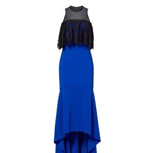Theia cobalt high low ruffle gown size 4 Long.